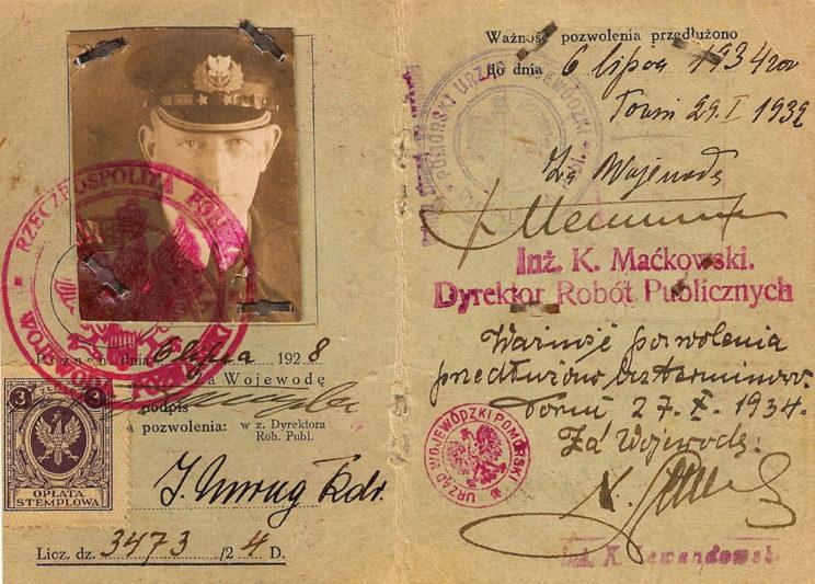 Pozwolenie na prowadzenie na drogach publicznych Rzeczypospolitej Polskiej wszelkich pojazdów mechanicznych z wyjątkiem pojazdów przeznaczonych do użytku publicznego przez kmdr. Józefa Unruga, ważne do 27 października 1934 r.