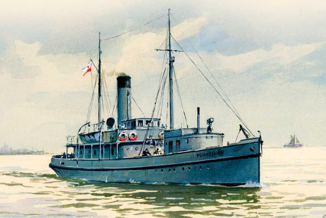 Pierwszy okret odrodzonej Marynarki Wojennej – OPR Pomorzanin – na obrazie Adama Werki.