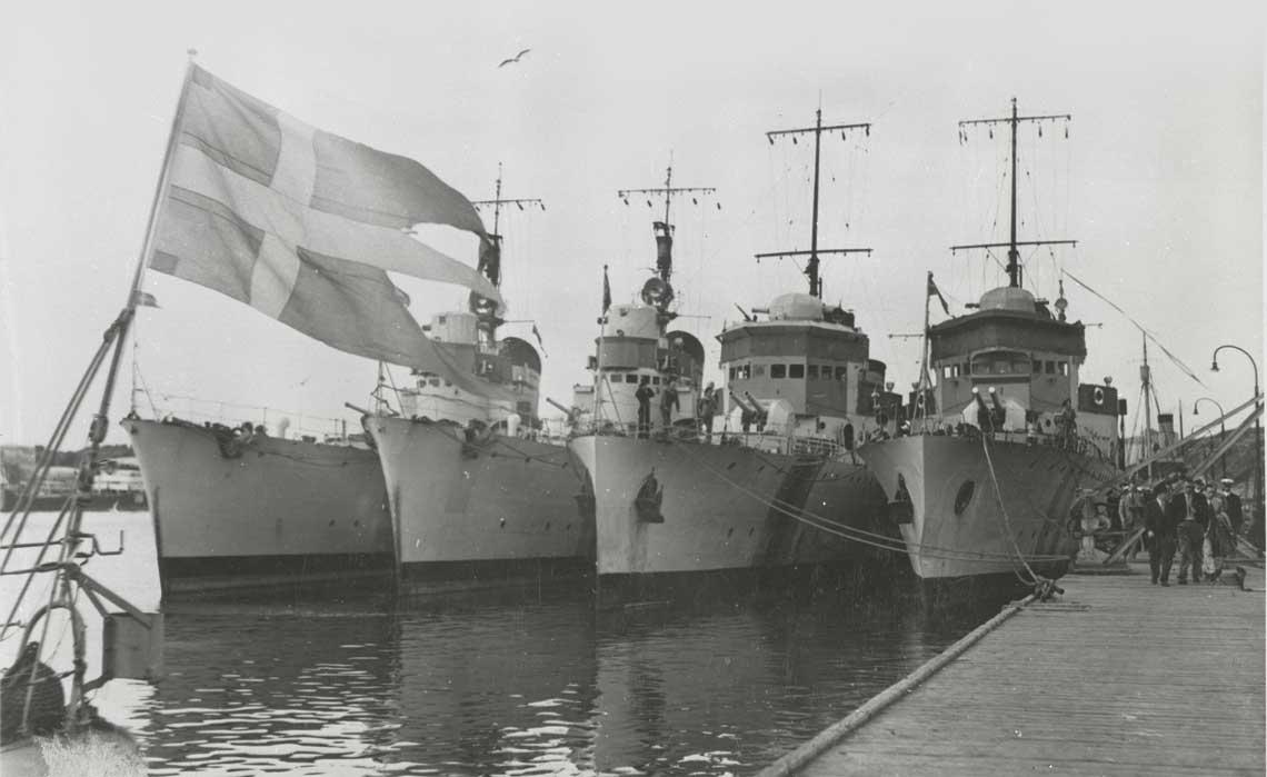 Szwedzkie niszczyciele juz po przybyciu do Göteborga. Fot. Sjöhistoriska museet
