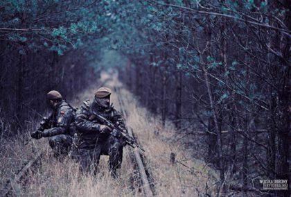 Zolnierze Wojsk Obrony Terytorialnej uzbrojeni wkarabinki podstawowe Grot C 16 FB-M1.