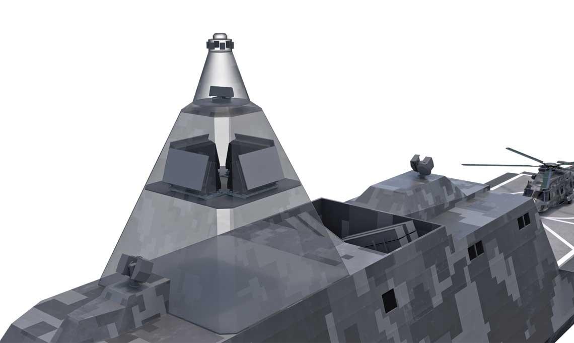 Wizualizacja radaru  Sea Giraffe 4A z antenami  scianowymi.  Fot. Saab