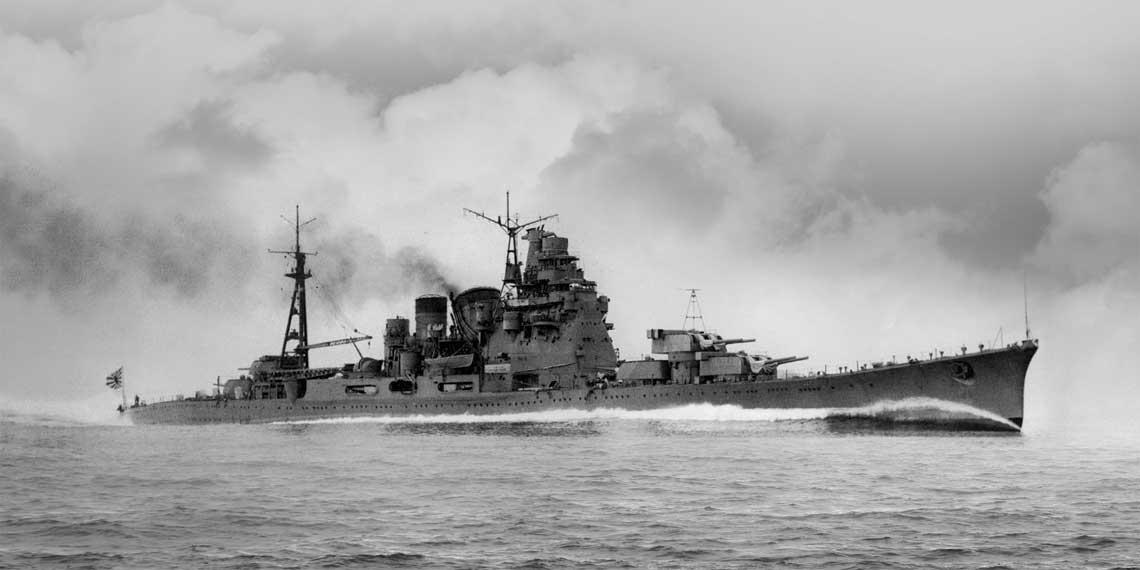 Jeden z najbardziej zasluzonych krazownikow ciezkich Cesarskiej Marynarki Wojennej – Chōkai, nalezacy do typu Takao. Fot. IJN via Wikipedia