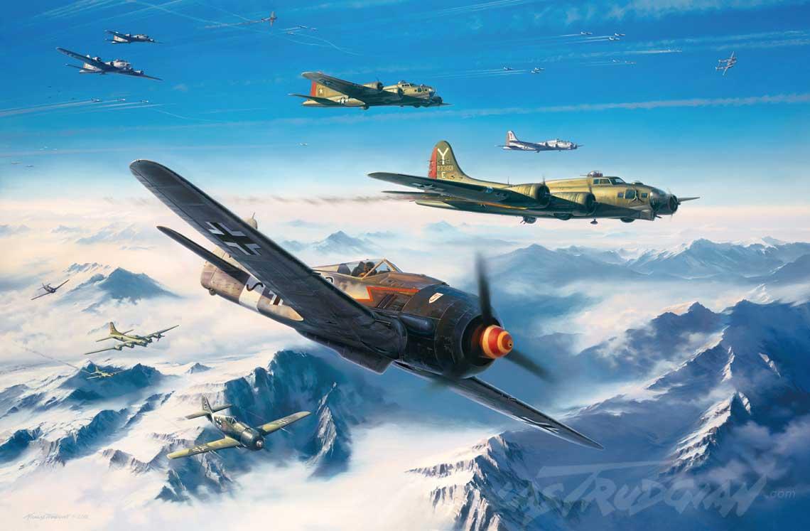 Formacja B-17 z 483. BG atakowana przez Sturmbocki z IV./JG3 w trakcie przelotu nad Alpami, podczas wyprawy bombowej 15. AF nad Rzesze 18 lipca 1944 r. W efekcie trwajacego zaledwie kwadrans ataku Niemcy zestrzelili 14 Latajacych Fortec. (Nicolas Trudgian, www.nicolastrudgian.com).