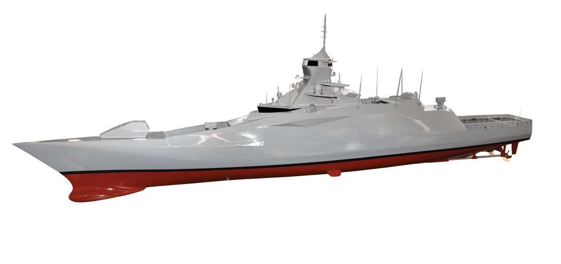Futurystyczna fregata przeciwlotnicza TF 4500, ma raczej niewielkie  szanse na urzeczywistnienie w metalu. Stanowi jednak doskonaly przyklad,  jakimi mozliwosciami dysponuja obecnie tureckie biura konstrukcyjne.