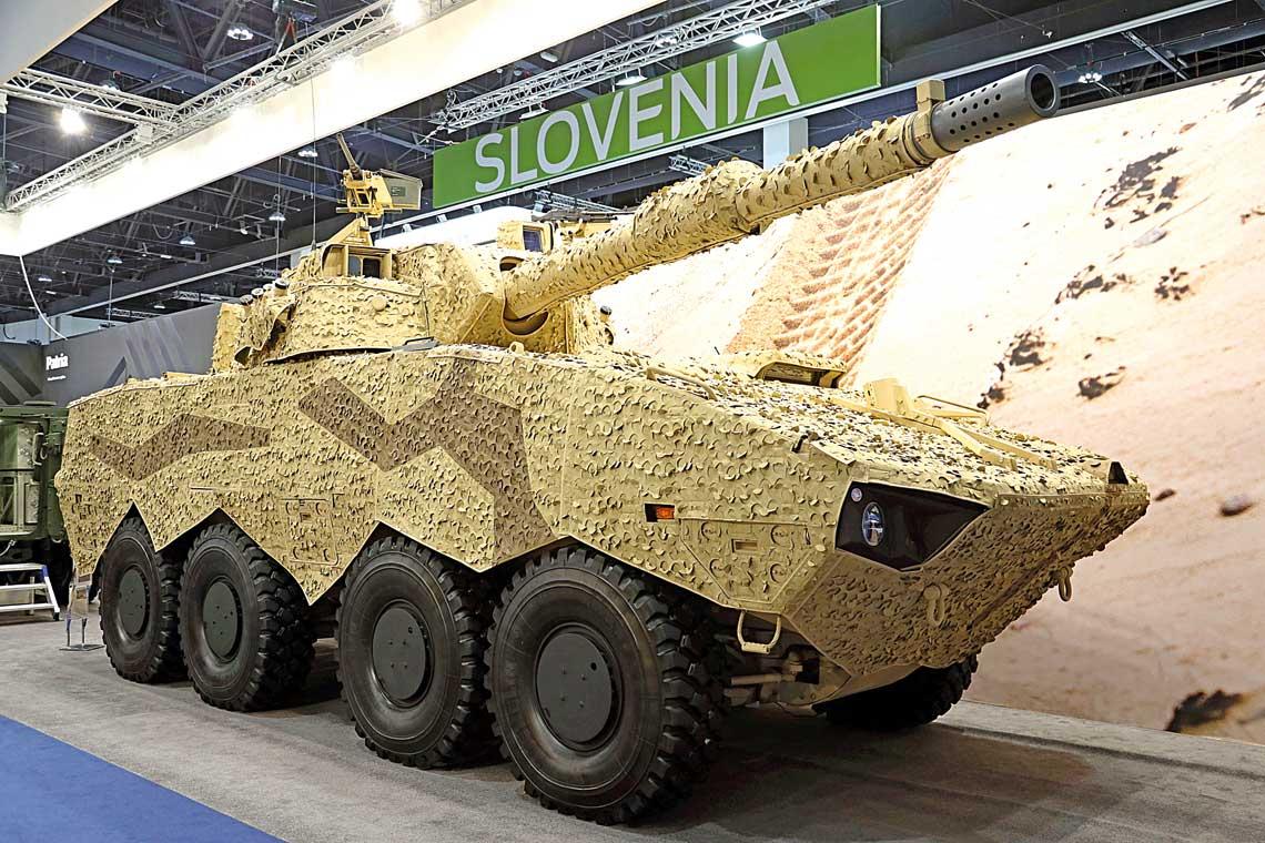 120 mm armata gladkolufowa L/45 o zredukowanym odrzucie.