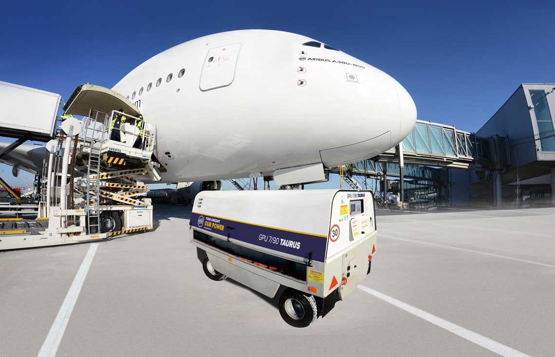 GPU-7/90 TAURUS zaprojektowany i wyprodukowany  przez WCBKT S.A. podczas obsługi  największego  pasażerskiego samolotu  świata  AIR BUS A-380.