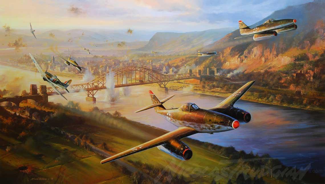 Artystyczna wizja czołowego starcia Tempestów z 274. Sqn (po lewej) z odrzutowymi samolotami myśliwsko-bombowymi Me 262 z II./KG 51 wykonującymi uderzenie na Most Ludendorffa w Remagen.