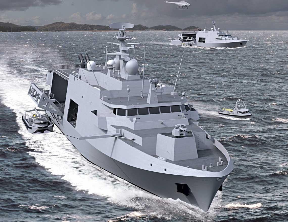 Wizja zwycięskiego systemu MCM zaoferowanego przez Belgium Naval & Robotics. Uwagę zwraca system wodowania USV zbramownicą iramieniem prowadzącym na dziobie.