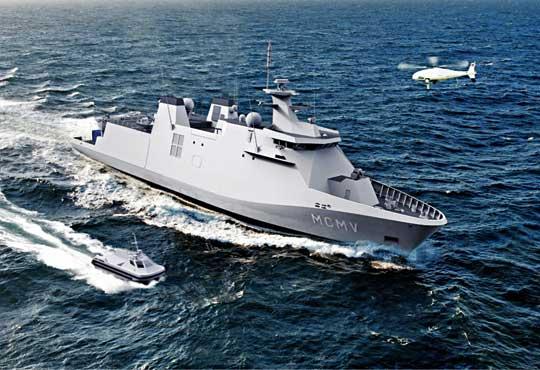Ato pomysł Damena na okręt-matkę MCM. Obok USV Atlasa.