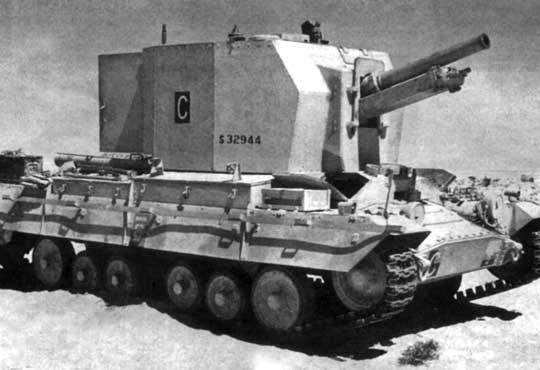 Działo samobieżne o oficjalnej nazwie Ordnance QF 25-pdr on Carrier Valentine 25-pdr Mk 1, które nieoficjalnie (a później oficjalnie) nazywano Bishop. Wóz na zdjęciu należy do 121st Field Regiment, Royal Artillery, który wziął udział w drugiej bitwie pod ElAlamein (23 października - 4 listopada 1942 r.).