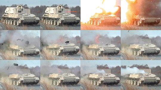 Sekwencja zdjęć pokazująca efekt trafienia pocisku DM11 w wieżę wozu bojowego. W teście zastosowano nastawę zapalnika na detonację ze zwłoką. Po eksplozji wewnątrz pojazdu, jego wieża została zerwana.