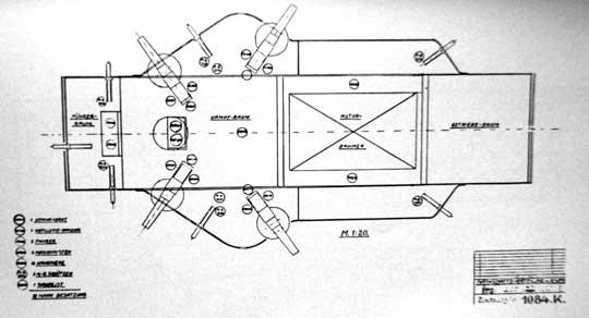 Schemat uwidaczniający podział kadłuba K-Wagena.