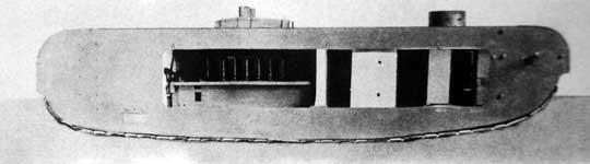 Model K-Wagena w widoku z prawej strony ze zdemontowaną boczną gondolą.