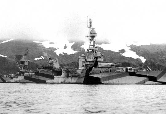 W czasie, kiedy krążownik ciężki Chester operował na wodach Aleutów w maju 1944 r., nosił trójkolorowy kamuflaż według schematu Ms-32/9D.
