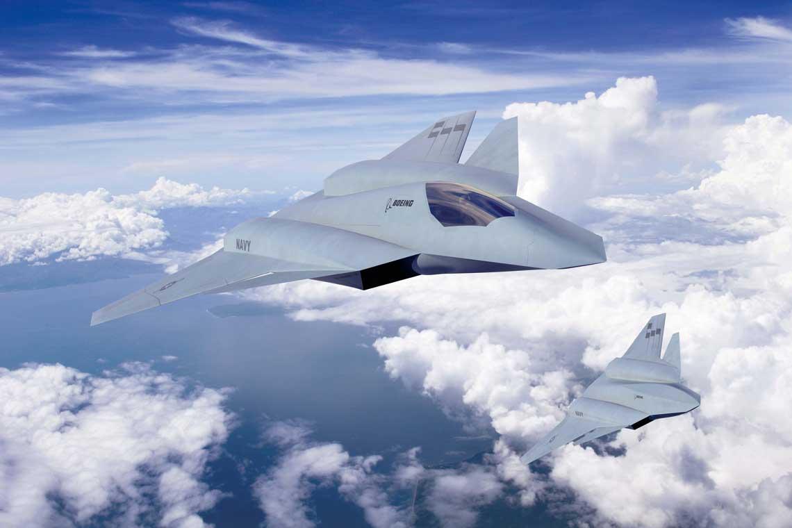 Wizja z 2013 r. myśliwca nowej generacji F/A-XX firmy Boeing w wariancie załogowym (na pierwszym planie) i bezzałogowym. Wporównaniu zwcześniejszą koncepcją samoloty mają przednie usterzenie.