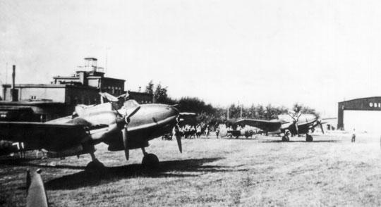 Lotnisko w Gliwicach (Gleiwitz) było wykorzystywane przez załogi Bf 110 od 7 września 1939 r.