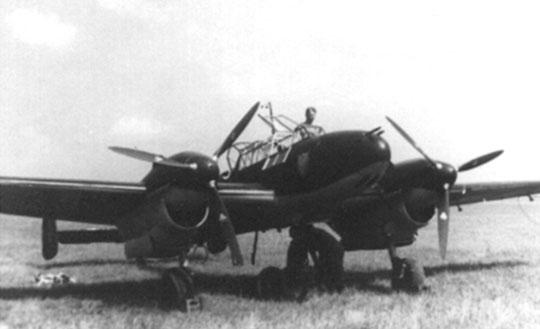 Widok ogólny na samolot niszczycielski Messerschmitt Bf 110B.