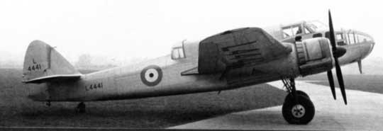 Bazą do zbudowania samolotu myśliwskiego uzbrojonego w cztery działka 20 mm Beaufighter stał się bombowiec Bristol Beaufort, którego prototyp oblatano 15 października 1938 r.