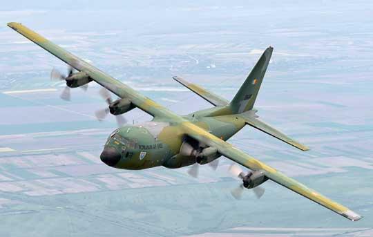 Jeden z trzech rumuńskich C-130B w locie. Fot. Siły Powietrzne Rumunii