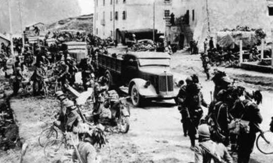 Batalion Bersalierów w rejonie góry Mount Cenis.
