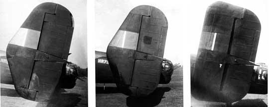 Ewolucja usterzenia ogonowego ciężkiego samolotu bombowego Handley Page Halifax. Kolejno, od lewej: Type B, C i D; to ostatnie wybrano jako standardowe (badano również usterzenia Type E, F i G).