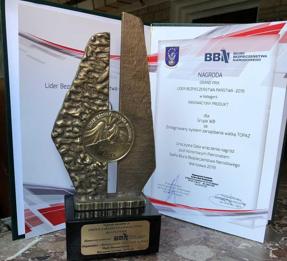 Zintegrowany System Zarządzania Walką TOPAZ został uhonorowany nagrodą Grand Prix Lider Bezpieczeństwa Państwa
