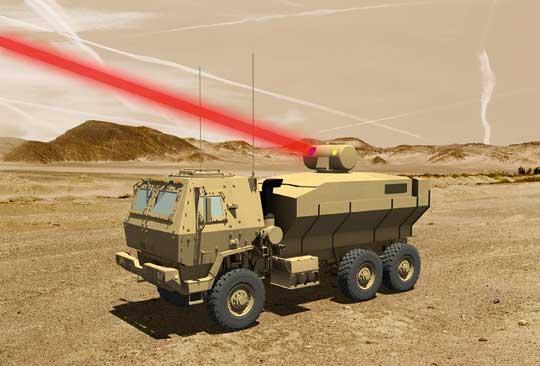 Koncepcyjna wizja systemu laserowego Lockheed Martin  Future Mobile Tactical Vehicles LWS tworzonego na potrzeby amerykańskich sił lądowych.