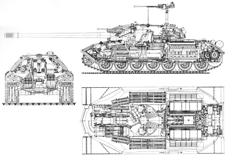 Przekrój czołgu ciężkiego IS-7 z 1946 r.