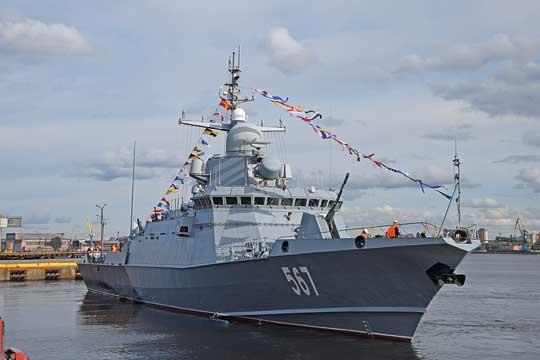 Mytiszczi, czyli prototypowy mały okręt rakietowy projektu 22800 Karakurt, który można było zobaczyć po raz pierwszy publicznie zbliska.