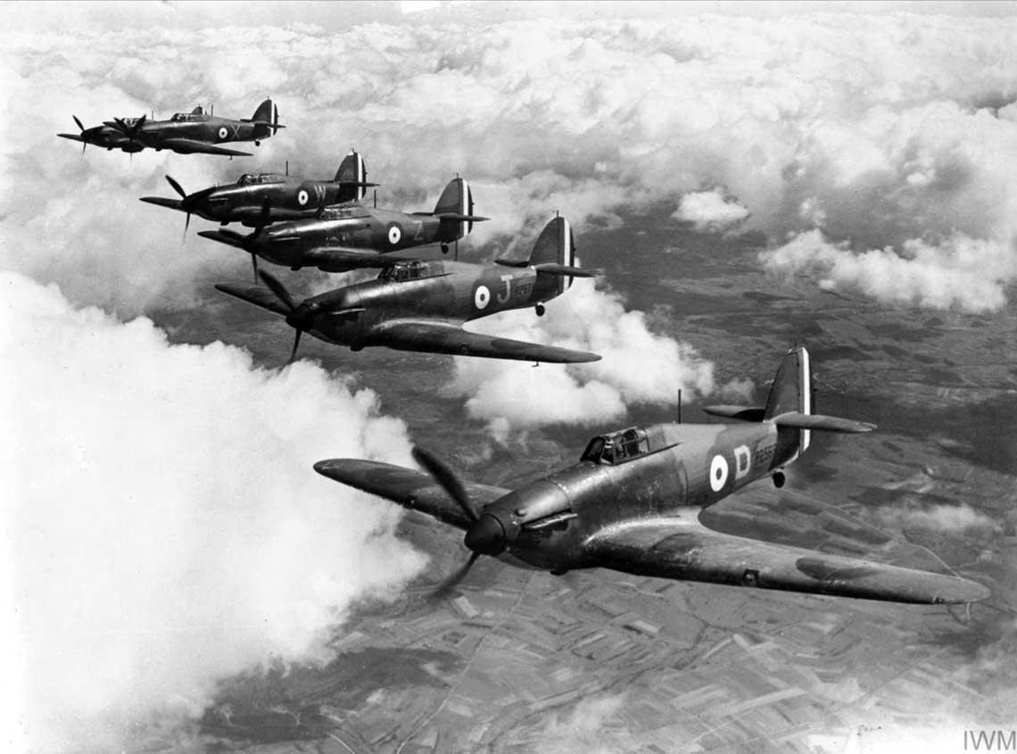 Do Francji skierowano łącznie 10 dywizjonów myśliwskich RAF, wszystkie wyposażone w Hurricane I. Na zdjęciu: myśliwce tego typu z 73. Dywizjonu RAF; Francja, wiosna 1940 r.