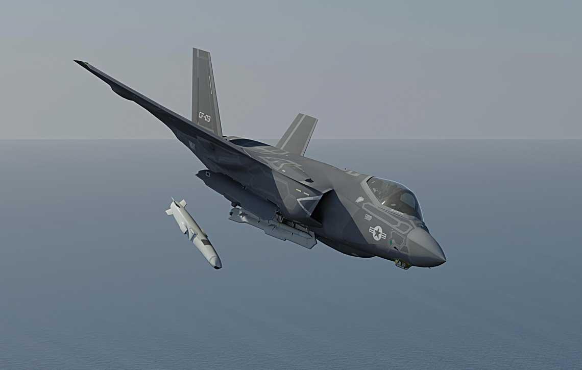 Wizualizacja F-35C zrzucającego pocisk JSM. Kongsberg zRaytheonem oferują JSM wkonkursie OASuW Inc 2. JSM jest jedynym oferowanym pociskiem, który mieści się wkomorze uzbrojenia F-35C.