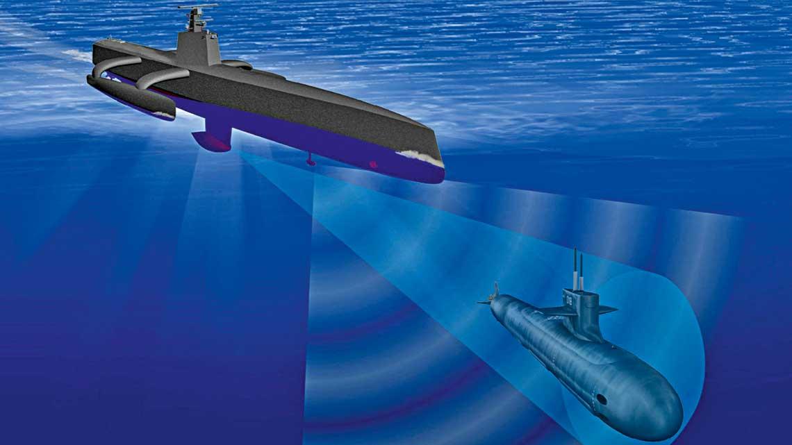 Wizualizacja bezzałogowego systemu poszukiwania iśledzenia okrętów podwodnych. Obecnie Stany Zjednoczone iIzrael testują rozwiązania tego rodzaju.