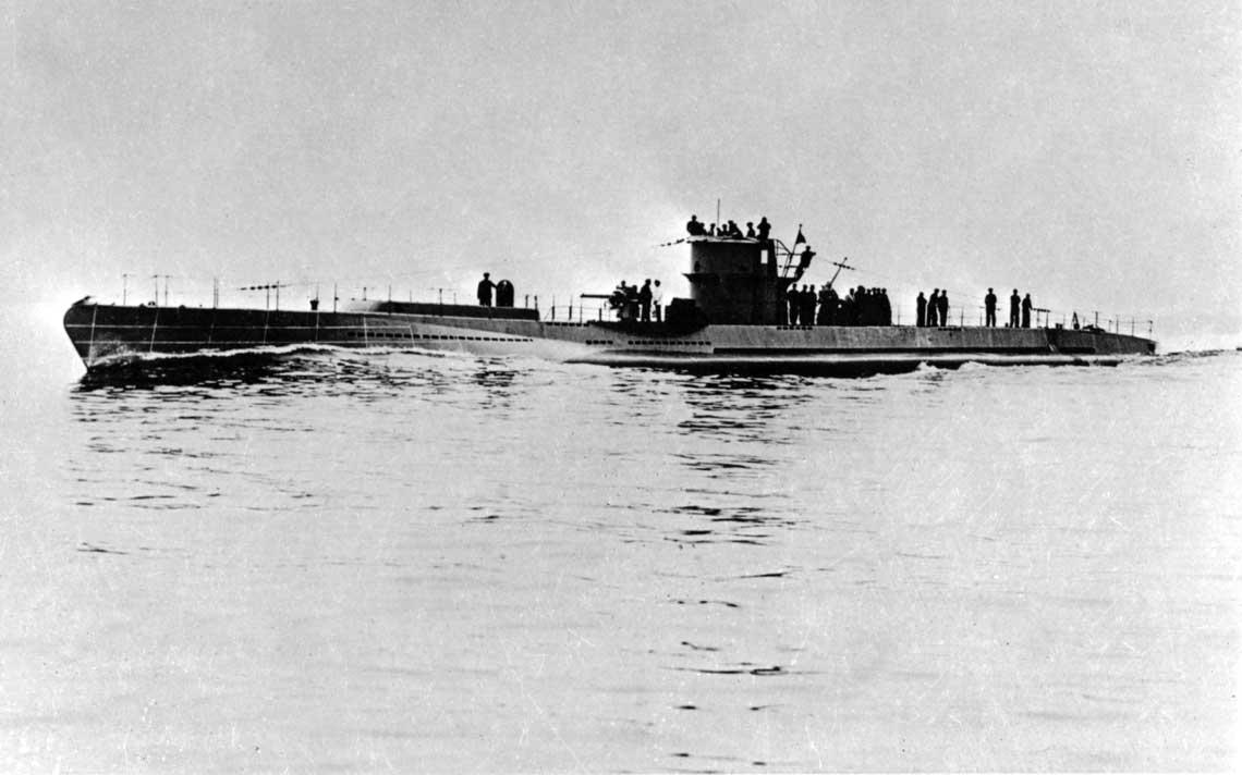 U116, pierwszy z podwodnych stawiaczy min typu XB na próbach morskich w 1941r.