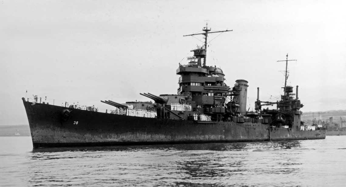Główną klasą okrętów artyleryjskich, które USNavy używała na Pacyfiku latem i jesienią 1942 r. były krążowniki ciężkie, jak na przykład widoczny na zdjęciu USS San Francisco, który wziął udział w bitwach morskich o Guadalcanal.