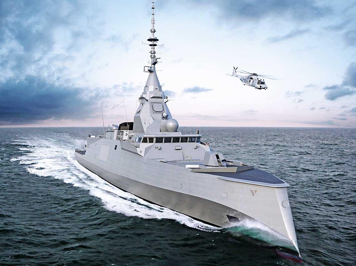 Najnowsza wizualizacja fregaty FDI, okrętu, który ma wspierać większe jednostki, ale dzięki postępowi technicznemu wistocie nie ustępując im pola. Wyposażenie spowoduje, że FDI owyporności ok. 4000t będzie miał takie same zdolności zwalczania celów podwodnych ipowierzchniowych jak 6000-tonowy FREMM, ale przewyższy jego specjalizowaną wersję DA woperacjach przeciwlotniczych (sic!). Ta ostatnia cecha to efekt użycia radaru Sea Fire zczterema antenami ścianowymi AESA oznacznie lepszych parametrach niż Herakles zpojedynczą obrotową anteną PESA.