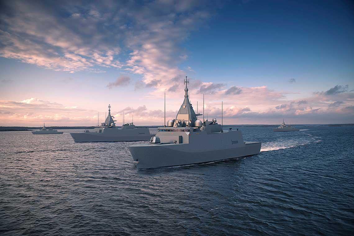 Wizja artystyczna prezentująca dywizjon Laivue2020 wpełnym składzie wtrakcie realizacji zadań na wodach Zatoki Fińskiej.