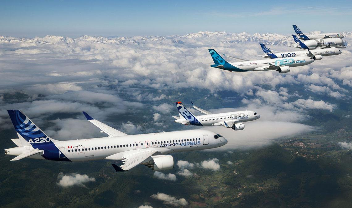W ciągu 45 lat działalności Airbus wyprodukował 12,6 tys. samolotów komunikacyjnych. Na zdjęciu, w pokazowym locie: A220-300, A319neo, A330neo, A350-1000, Beluga XL i A380.