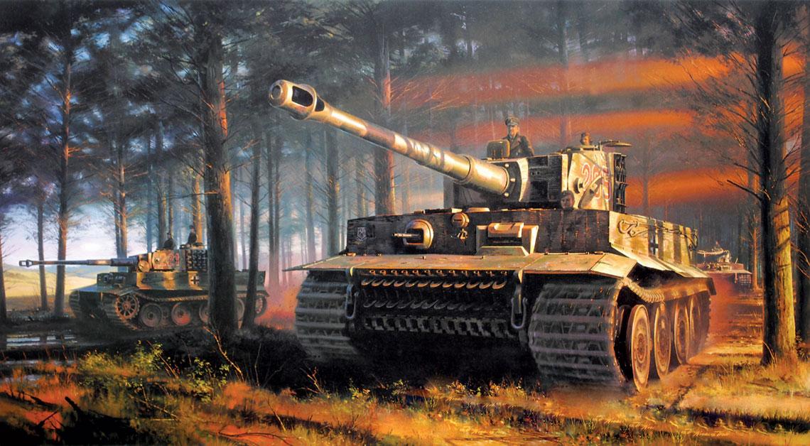 Czołgi Tygrys 2./s.SS-Pz.Abt. 101 w Normandii; czerwiec 1944 r. Na pierwszym planie wóz dowódcy kompanii, SS-Obersturmführera Michaela Wittmanna.