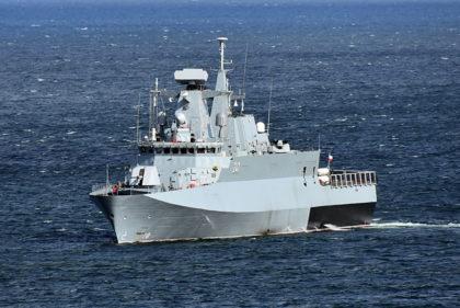 Patrolowiec Ślązak na próbach morskich. Rozpoczęło je wyjście na Zatokę Gdańską 14 listopada 2018 r.