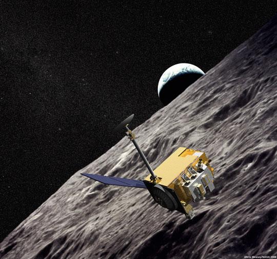 sonda LRO na orbicie Księżyca.