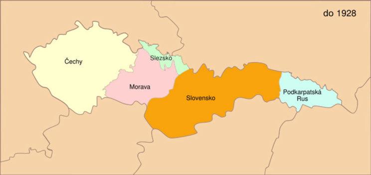 Podział administracyjny Czechosłowacji. Po 1928 r. – gdy nie ziściły się nadzieje na inkorporację pogranicznych ziem Polski lub Niemiec – kraj śląski został włączony do Moraw.