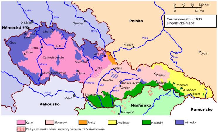 Mapa etniczna – formalnie: lingwistyczna – Czechosłowacji.