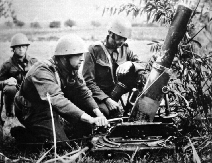 Lekki – przynajmniej nominalnie – moździerz piechoty vz. 17, kalibru 9 cm.