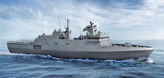 Wizja fregaty typu Tamandaré przeznaczonej dla Brazylii, powstającej woparciu oprojekt MEKO® A-100MB.