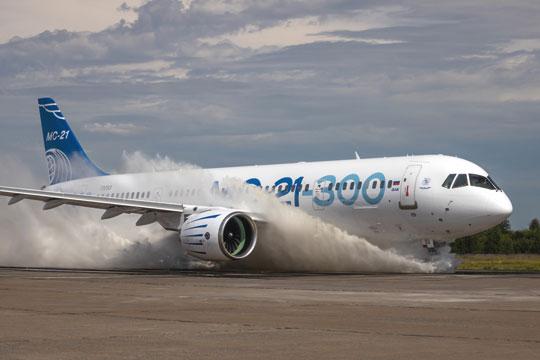 Jeszcze przed końcem bieżącego roku ma wRosji wzbić się wpowietrze duży samolot komunikacyjny MC-21-310 zrosyjskimi silnikami turbowentylatorowymi.