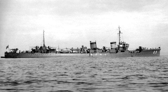 Niszczyciel Mikazuki szedł na czele japońskiego zespołu podczas bitwy pod Kolombangarą. Zdjęcie przedwojenne.
