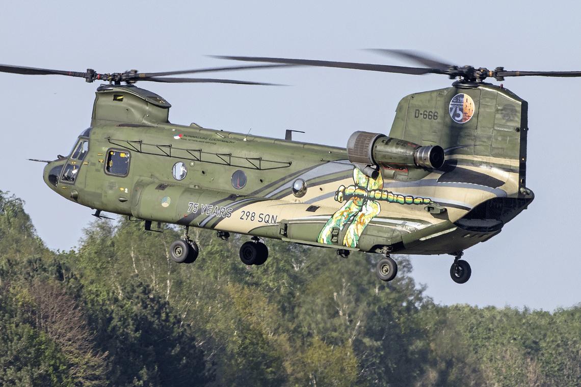 Z okazji rocznicy 298. Dywizjonu, jeden ze śmigłowców CH-47D otrzymał malowanie specjalne. Po jednej stronie jest naniesiona ważka będąca logiem jednostki, po drugiej zaś – niedźwiedź grizzly, będący maskotką jednostki.