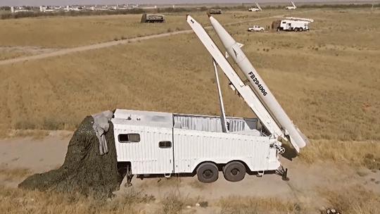 Wyrzutnie pocisków Fateh-110 tuż przed atakiem na obiekty HDK/HDKA 8września 2018r.