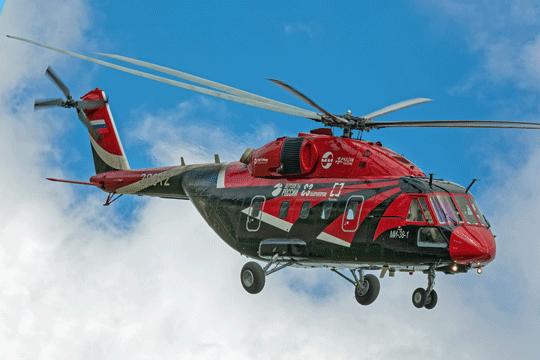 Ten sam OP-2, ale już dwa lata później, zoznaczeniem Mi-38-1. Prototyp OP-2 służył przede wszystkim do testowania nowego zintegrowanego systemu awioniki IBKO-38 firmy Tranzas  zSt. Petersburga.