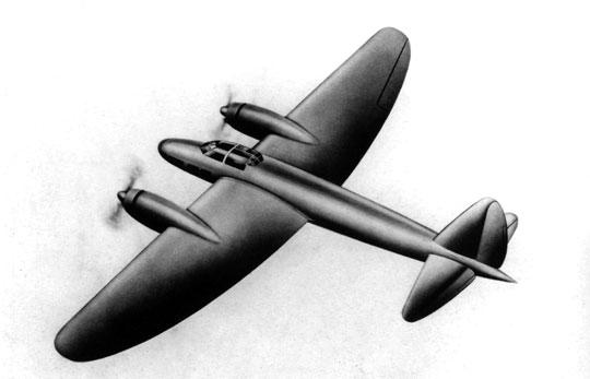 Jedna z pierwszych koncepcji szybkiego bombowca Junkers Ju 88.